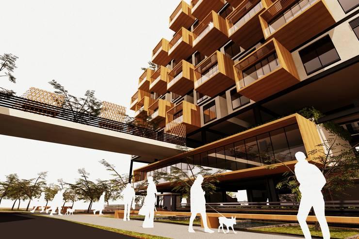 Perspectiva General Casas de estilo moderno de AbiOS Estudio de Arquitectura Moderno Madera Acabado en madera