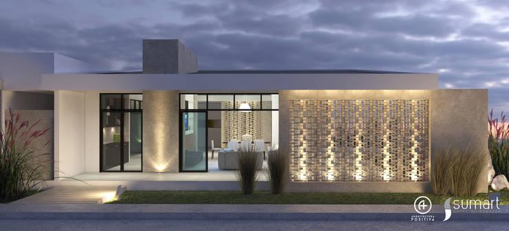 Fachada Posterior - Vivienda Unifamiliar Sostenible : Casas de estilo ecléctico por Arquitectura Positiva