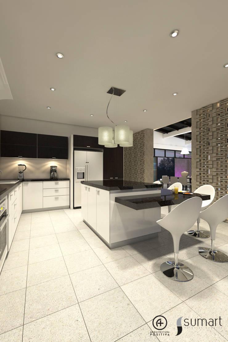 Vista Posterior de cocina: Cocinas de estilo ecléctico por Arquitectura Positiva