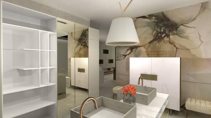 Sala de Banho com revestimentos especiais : Banheiros  por Talita Kvian