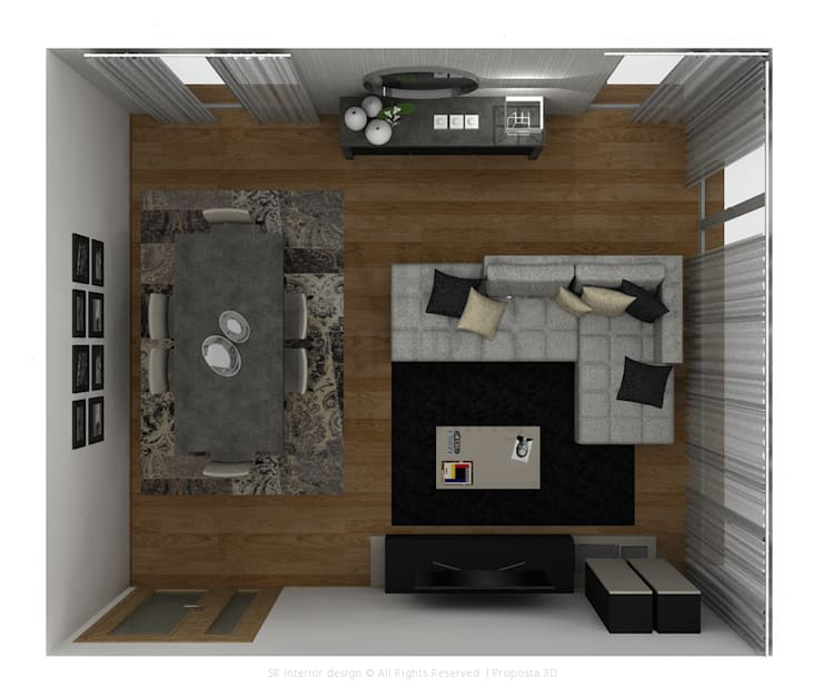 Black & Concrete Living Room: Salas de estar  por Sara Ribeiro - Arquitetura & Design de Interiores