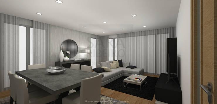 Black & Concrete Living Room: Salas de jantar  por Sara Ribeiro - Arquitetura & Design de Interiores