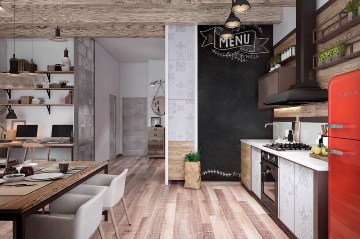 Cocinas de estilo industrial por Дизайн Мира