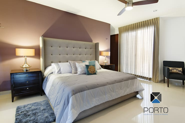 غرفة نوم تنفيذ PORTO Arquitectura + Diseño de Interiores
