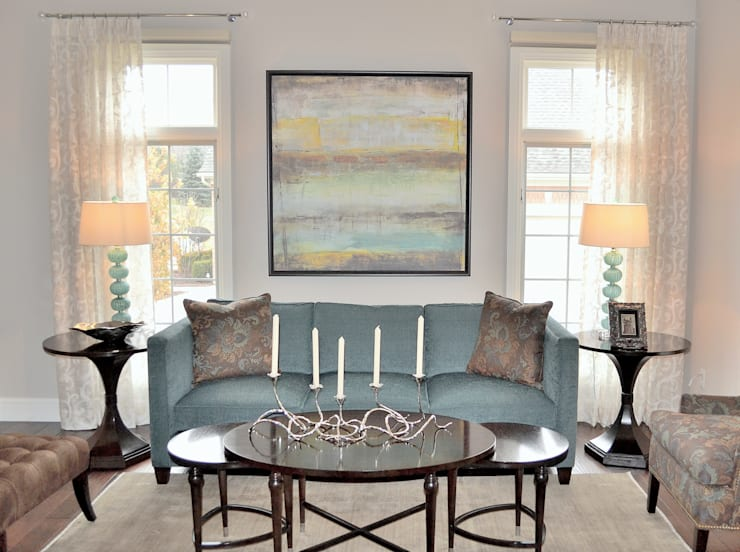 Eclectic transitional new home:  Living room by Foran Interior Design