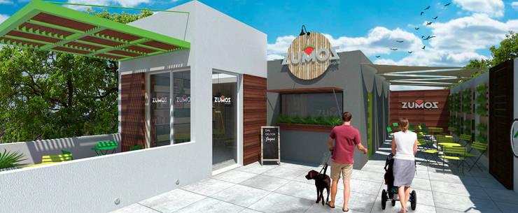 Nueva fachada propuesta: Restaurantes de estilo  por MOBAH Arquitectura