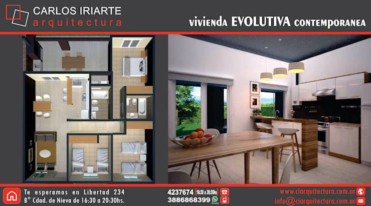 Vivienda en San Salvador de Jujuy: Cocinas de estilo  por Carlos Iriarte arquitectura,