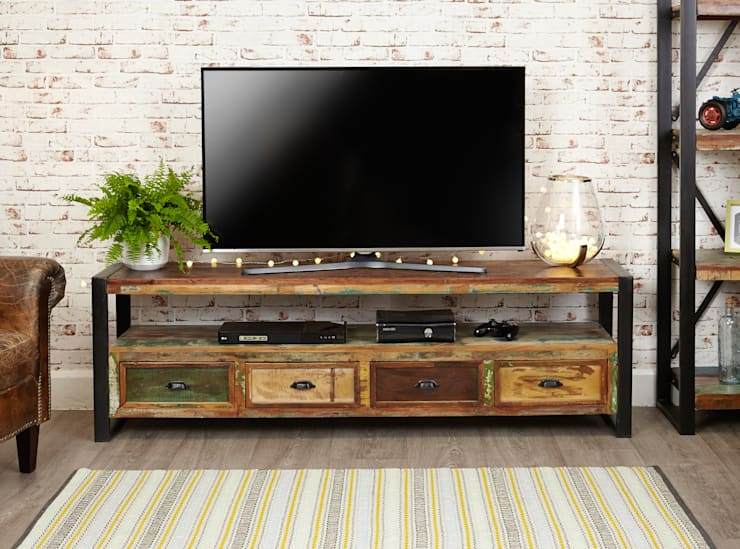 large industrial tv unit with 4 drawers from our urban chic range living room by