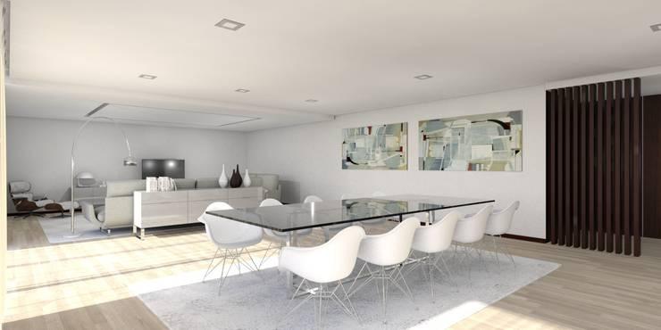 Moradia – Vila Verde: Salas de jantar  por Equevo - Interiores Design