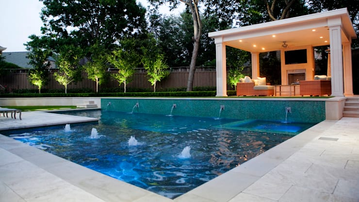 Entertaining Garden - Transitional Landscape Design:  Pool by Matthew Murrey Design