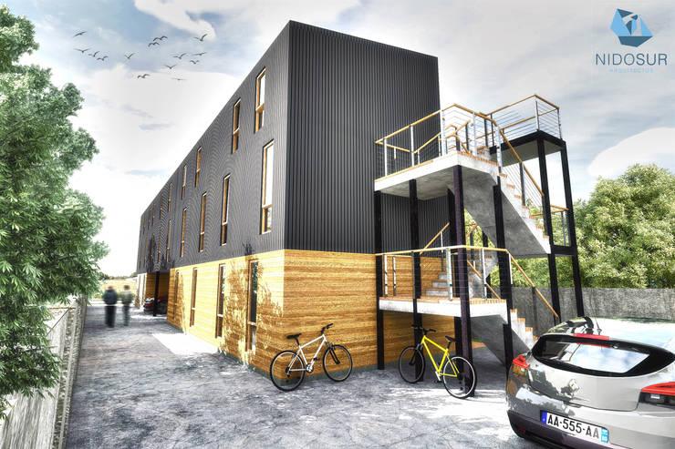 Fachada: Condominios de estilo  por NidoSur Arquitectos - Valdivia