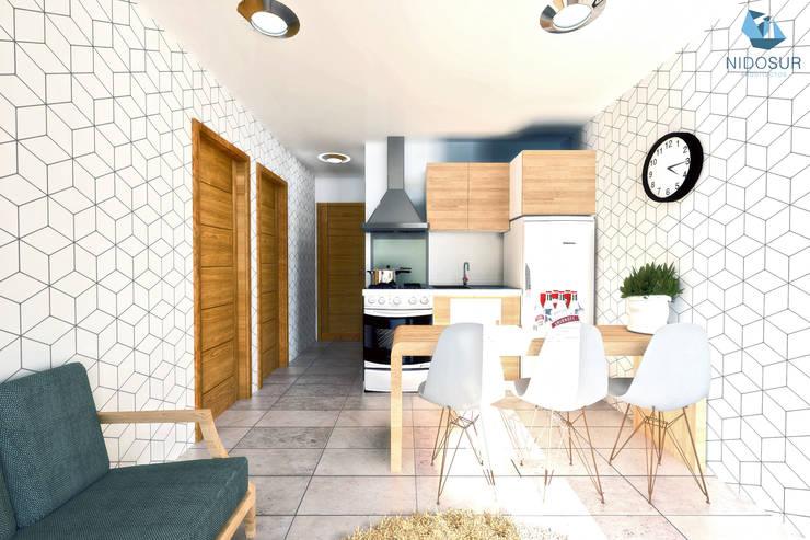 Cocina Comedor Integrados: Comedores de estilo  por NidoSur Arquitectos - Valdivia
