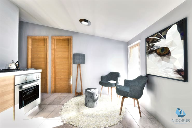 Living: Livings de estilo  por NidoSur Arquitectos - Valdivia