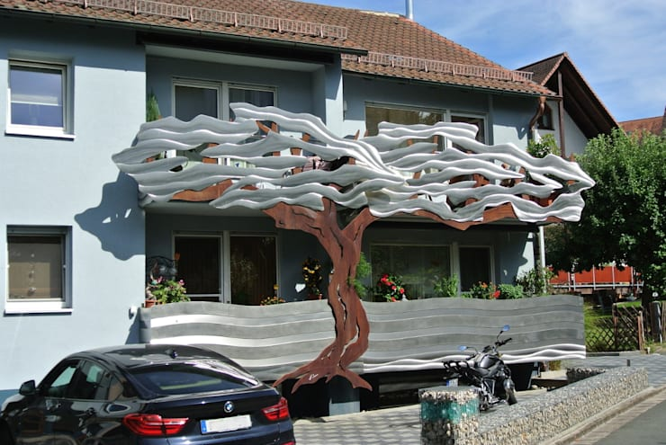 Edelstahl Balkongelander Mit Cortenstahl Mischung Tree Of Life