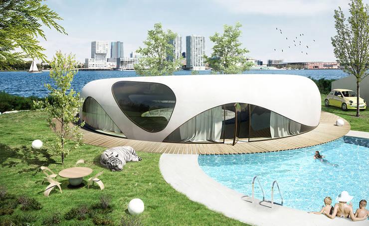 Energie-autarkisch villa in Almere:  Huizen door OLA architecten, Minimalistisch Gewapend beton