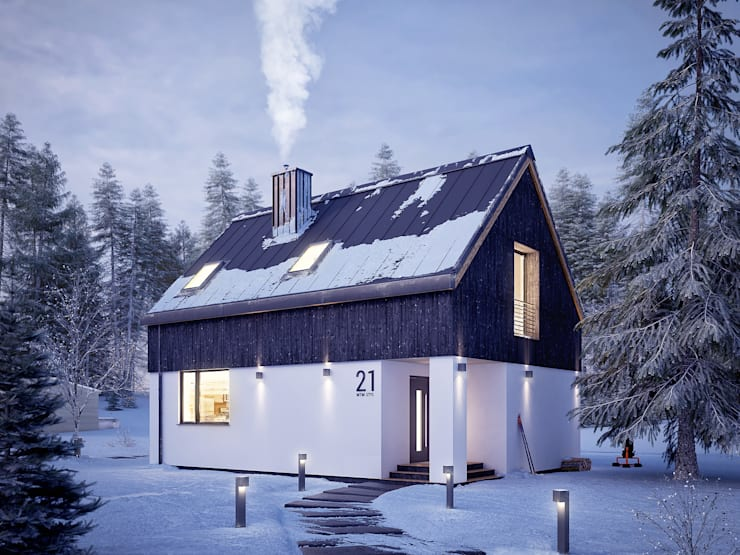 Wizualizacja zimowa projektu domu Groszek: styl , w kategorii Domy zaprojektowany przez Biuro Projektów MTM Styl - domywstylu.pl