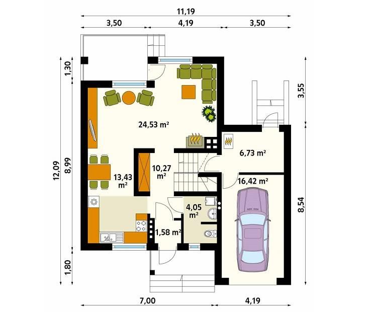 Rzut parteru projektu domu Sopran: styl , w kategorii Ściany zaprojektowany przez Biuro Projektów MTM Styl - domywstylu.pl