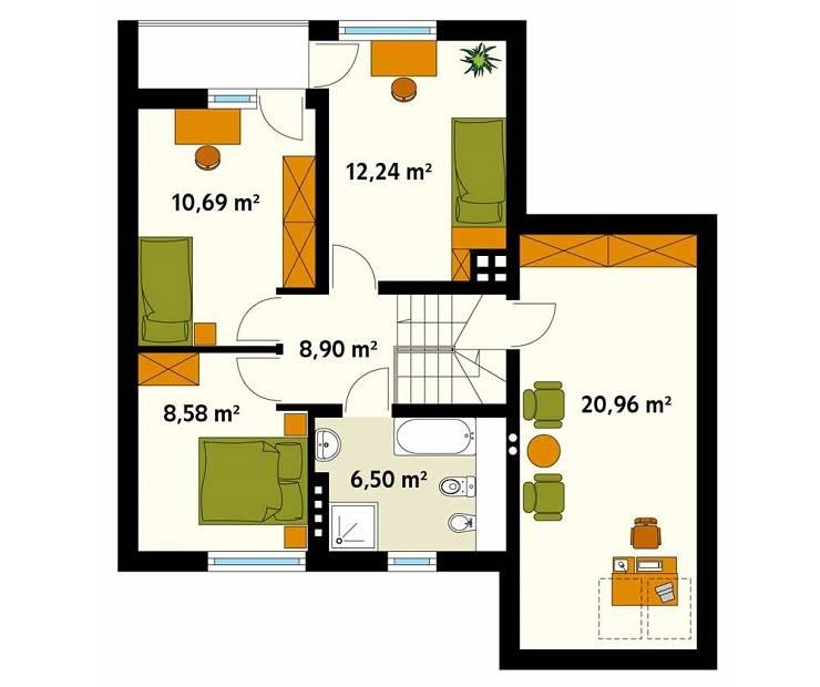 Rzut poddasza projektu domu Sopran: styl , w kategorii Ściany zaprojektowany przez Biuro Projektów MTM Styl - domywstylu.pl