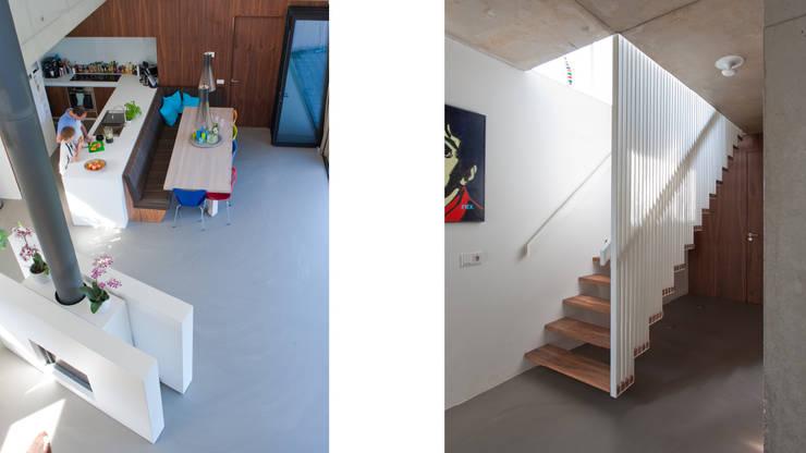 Rijkdom achter een vergrijsde schutting:  Woonkamer door ARCHITECTUURBUREAU project.DWG, Modern