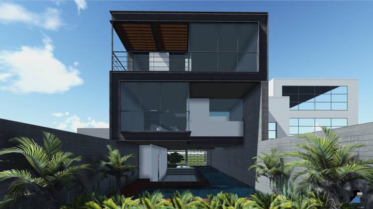 Fachada trasera: Casas de estilo  por VOLEVA arquitectos