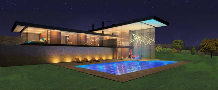 Alberca: Casas de estilo  por VOLEVA arquitectos