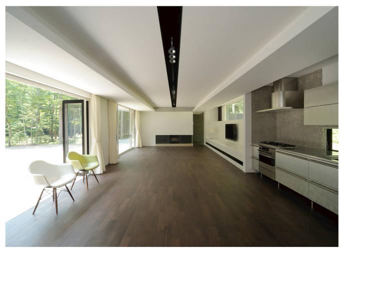 VILLA SILVA  軽井沢の別荘建築: Mアーキテクツ 高級邸宅 豪邸 注文住宅 別荘建築 LUXURY HOUSES   M-architectsが手掛けたリビングです。