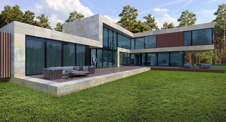 Дом в Подмосковье (485м2): Дома в . Автор – ALEXANDER ZHIDKOV ARCHITECT