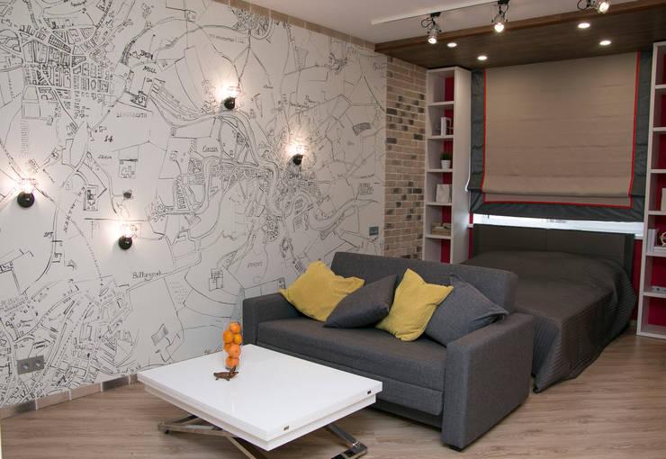 зона спальни в квартире-студии: Спальни в . Автор –  Яна Васильева. дизайн-бюро ya.va, Лофт Кирпичи