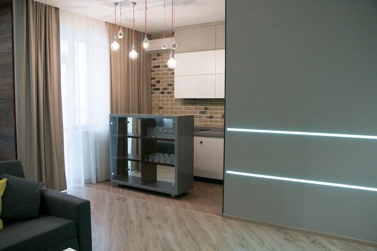 Квартира-студия в стиле лофт.: Кухни в . Автор –  Яна Васильева. дизайн-бюро ya.va, Лофт Кирпичи