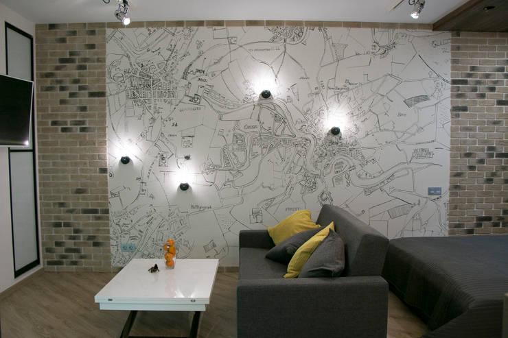 Квартира-студия в стиле лофт.: Спальни в . Автор –  Яна Васильева. дизайн-бюро ya.va, Лофт