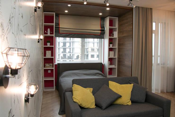 Квартира-студия в стиле лофт.: Спальни в . Автор –  Яна Васильева. дизайн-бюро ya.va, Лофт МДФ