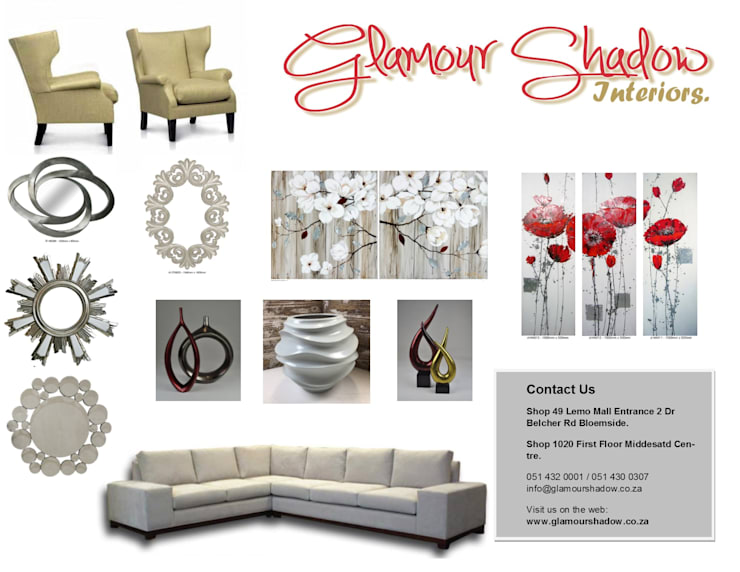 Decor Ornaments:  Living room by Glamour Shadow Interiors (Pty) Ltd