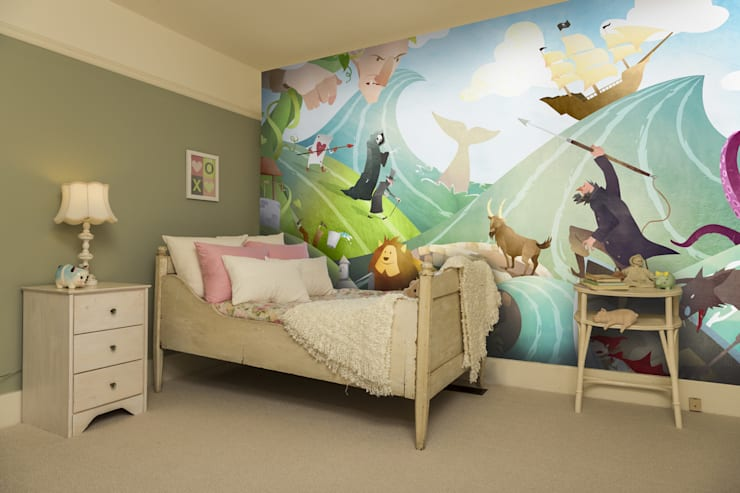 Waves of Imagination Wall Mural Dormitorios infantiles de estilo moderno de Wallsauce.com Moderno