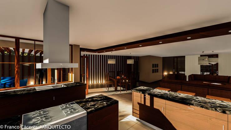 CASA JONES – PROYECTO: Cocinas de estilo  por FRANCO CACERES / Arquitectos & Asociados