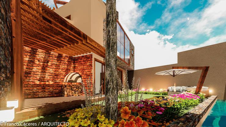 CASA JONES – PROYECTO: Jardines de estilo  por FRANCO CACERES / Arquitectos & Asociados