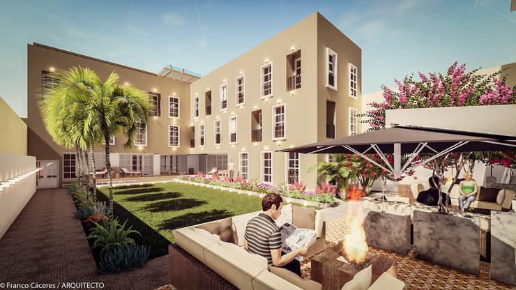 HOTEL BOUTIQUE BARRANCO - LIMA: Casas de estilo  por FRANCO CACERES / Arquitectos & Asociados, Colonial
