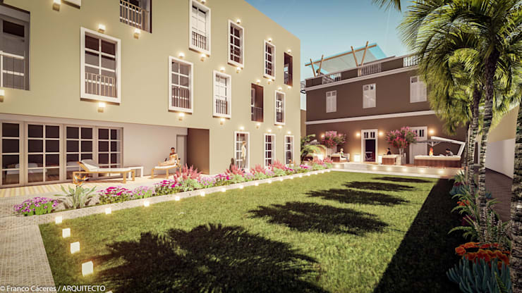 HOTEL BOUTIQUE BARRANCO – LIMA: Casas de estilo colonial por FRANCO CACERES / Arquitectos & Asociados
