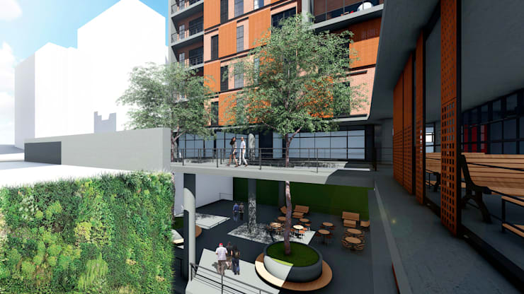 Industrial style office buildings by Veredas Arquitetura Industrial Bricks
