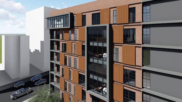 Industrial style office buildings by Veredas Arquitetura Industrial