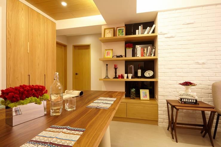 北市 北投 Hsu residence:  餐廳 by 双設計建築室內總研所