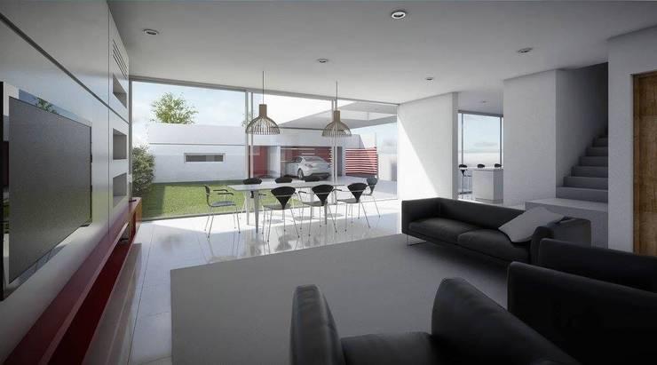 casa A: Livings de estilo  por ARQUITECTO MAURICIO PIZOLATTO