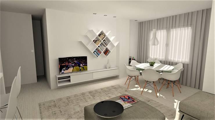 Projecto requalificação Apartamento Braga, parceria Distanciangular   : Salas de jantar  por Equevo - Interiores Design