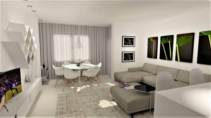 Projecto requalificação Apartamento Braga, parceria Distanciangular   : Salas de estar  por Equevo - Interiores Design