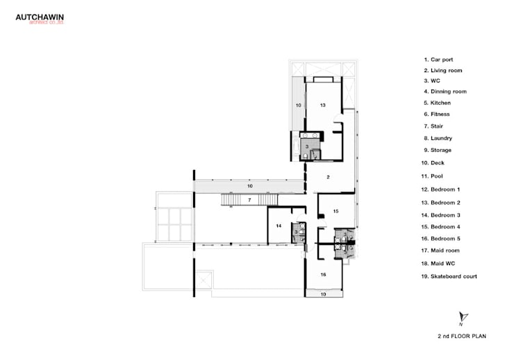 2nd floor:   by Autchawin Architect Co., Ltd.