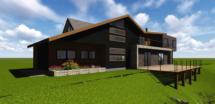 VIVIENDA UNIFAMILIAR DE NIEBLA – VALDIVIA: Casas de estilo moderno por GerSS Arquitectos