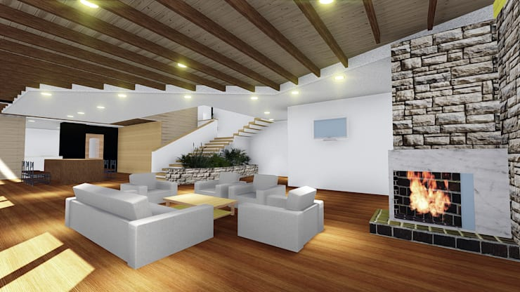 VIVIENDA UNIFAMILIAR DE NIEBLA – VALDIVIA: Livings de estilo moderno por GerSS Arquitectos
