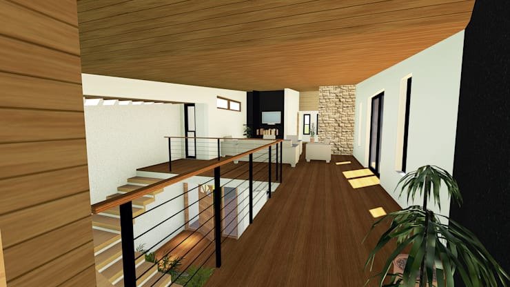 VIVIENDA UNIFAMILIAR DE NIEBLA – VALDIVIA: Pasillos y hall de entrada de estilo  por GerSS Arquitectos