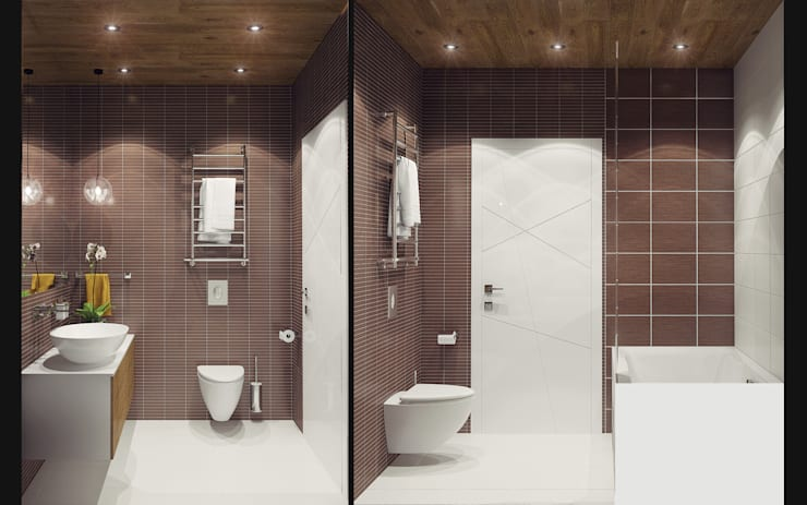 Small studio for young man in Krasnogorsk city: modern Bathroom by Ksenia Konovalova Design