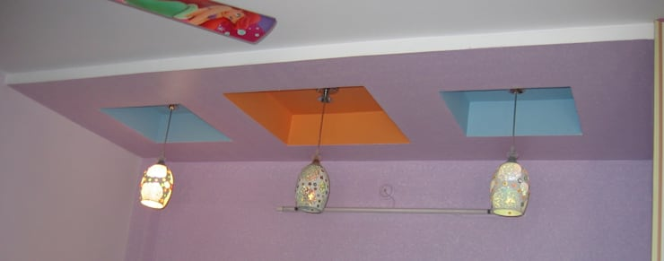 false ceiling above bed:  Bedroom by Bluebell Interiors,Modern Plywood