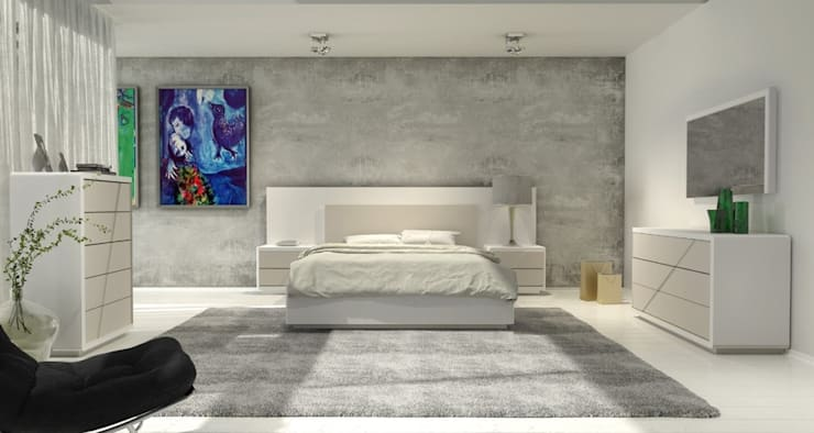 Mobiliário de quarto Bedroom furniture www.intense-mobiliario.com  LLAGAHC http://intense-mobiliario.com/pt/quartos/10695-quarto-llagahc.html: Quarto  por Intense mobiliário e interiores;